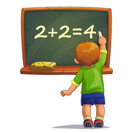 teacher student: Poco muchacho de la historieta escribe con tiza en una pizarra. Ilustraci�n vectorial aislado