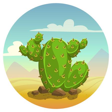 Cartoon cactus on desert background, vector illustration