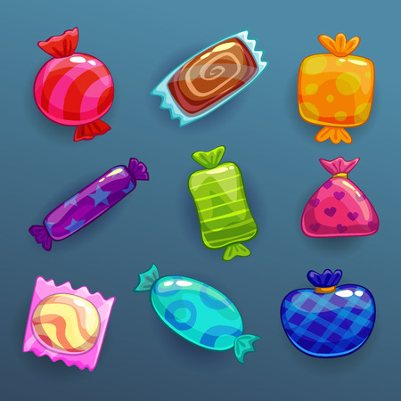 conjunto de doces brilhantes dos desenhos animados Ilustración de vector