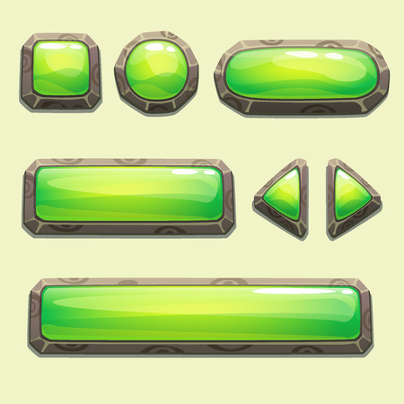 Set of cartoon green buttons for web or game design Illustration