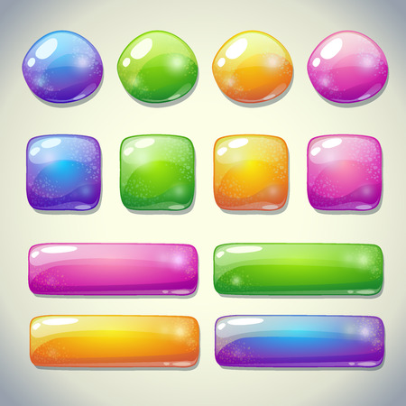 square buttons: Set of cartoon glossy buttons for game or web design Illustration