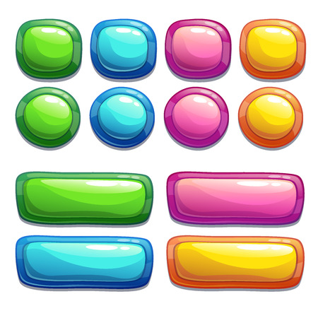 Set of bright buttons for game or web design