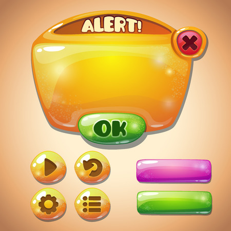 Set of yellow glossy information panel and buttons, beautiful sparkling elements for your game design Иллюстрация