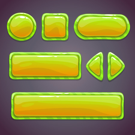 Set of green funny buttons with different shapes, beautiful elements for web or game ui design