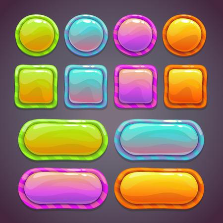 jeu: Ensemble de boutons dr�les lumineuses avec diff�rentes formes et couleurs, de beaux �l�ments fluorescents pour la conception web ou jeu ui Illustration