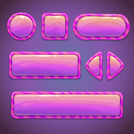 Set of pink funny buttons, cool elements for your design Vector
