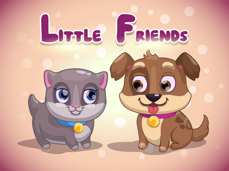 dogs play: Little cute kitten and puppy, vector illustration