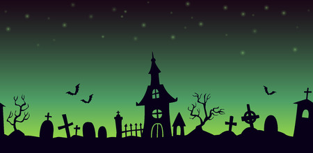 sullen: Night cartoon cemetery landscape, seamless background with graves and chapel silhouettes