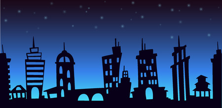unending: Night cartoon city landscape, seamless background with skyscrapers silhouettes