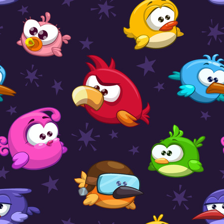 Seamless pattern with funny cartoon birds  イラスト・ベクター素材