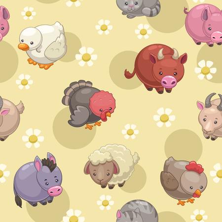 Seamless pattern with cute cartoon round farm animals Vector