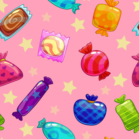 candy stripe: Seamless pattern with candies