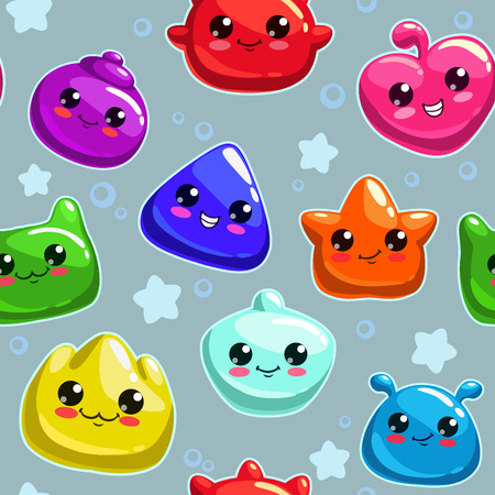 Seamless pattern with cute cartoon jelly monsters Vector