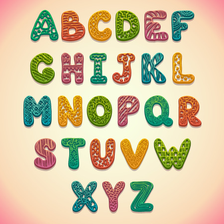 scrapbook: Funny bright font with relief ornament, ABC illustration