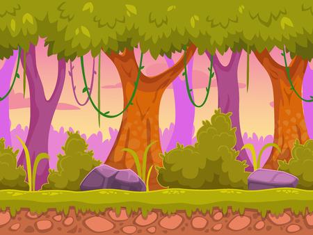 Seamless cartone animato paesaggio forestale, sfondo vettoriale senza fine con terra, cespugli, alberi e strati cielo Archivio Fotografico - 35999059