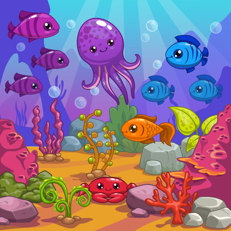Underwater world, cartoon vector illustration Stock Illustratie