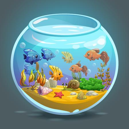 Aquarium avec des poissons, les algues et décorations