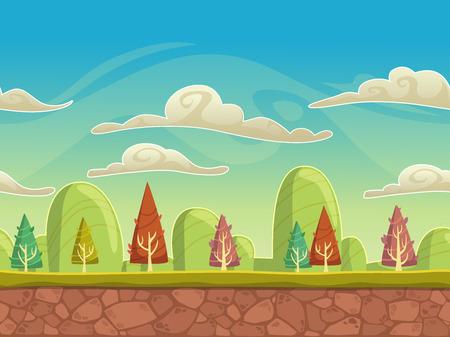 terreno: Seamless cartone animato paesaggio, sfondo senza fine con terreno, alberi, montagne e strati cielo nuvoloso Vettoriali