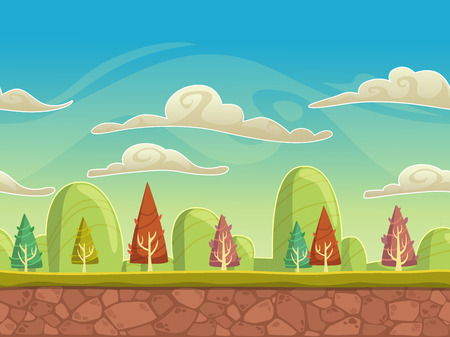 grounds: Seamless cartoon nature landscape, unending background with soil, trees, mountains and cloudy sky layers