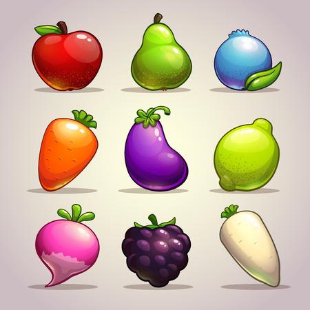 manzana caricatura: Conjunto de dibujos animados frutas, bayas y verduras