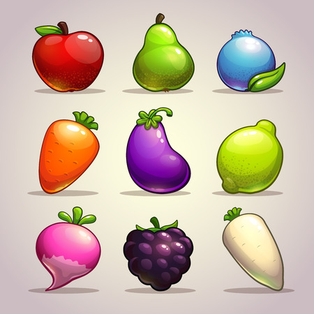 Set of cartoon fruits, berries and vegetables