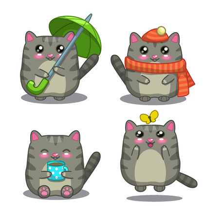 Cute fat gray cat in different activity, isolated vector illustrations Ilustração