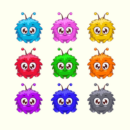 alien head: Little cute cartoon fluffy monster in different colors Illustration