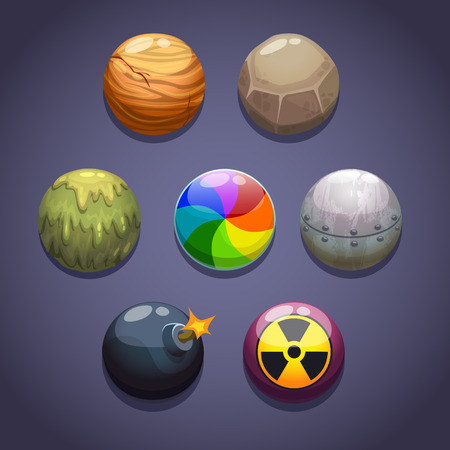 Bubblesballs set with different properties on the dark background, isolated vector Vector