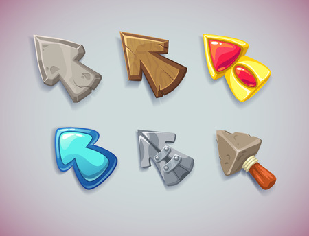Cartoon vector arrowscursors, different materials and shapes. Elements for game user interfaces.