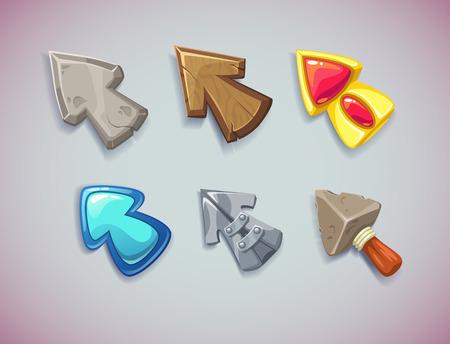 flecha direccion: Flechas de vector de dibujos animados  cursores, diferentes materiales y formas. Elementos para interfaces de usuario de juego.