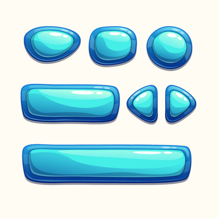 blue buttons: Set of cartoon blue buttons, isolated vector Illustration