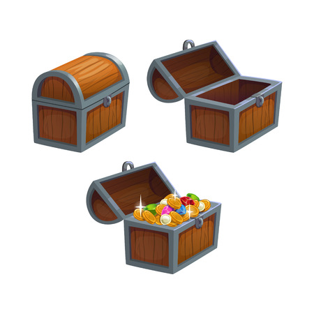 pirate treasure: Cartoon chest in three positions, isolated vector