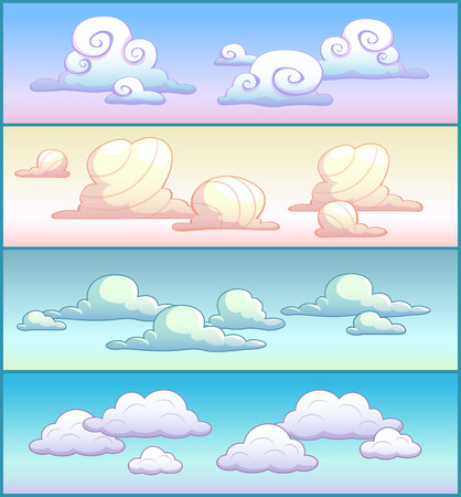 summer cartoon: Cartoon clouds on the sky, four variants