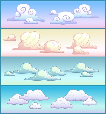 Cartoon clouds on the sky, four variants