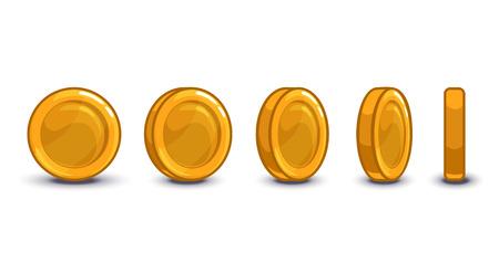 Cartoon coin turns around, isolated vector frames