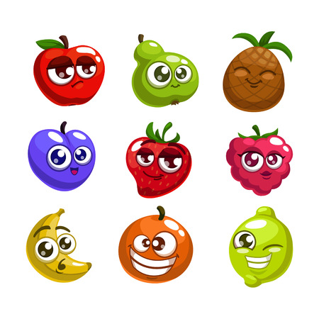 apple orange: Cartoon fruit characters, isolated vector Illustration