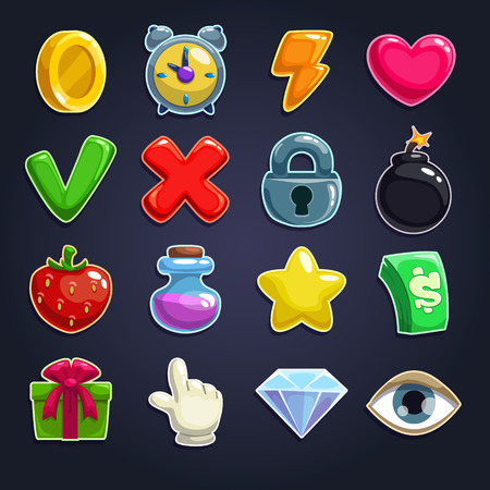 estrella caricatura: Iconos de la historieta para la interfaz de usuario del juego, conjunto de vectores Vectores