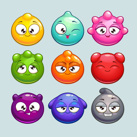 caras emociones: Personajes de dibujos animados lindo de la jalea, personajes redondos de vectores simples con diferentes colores y emociones Vectores