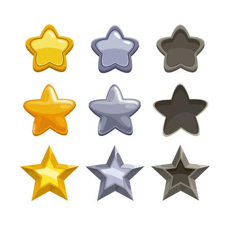 estrella caricatura: Conjunto de oro, plata y estrellas no activos de dibujos animados, elementos para el juego. Vector aislado en el fondo blanco.