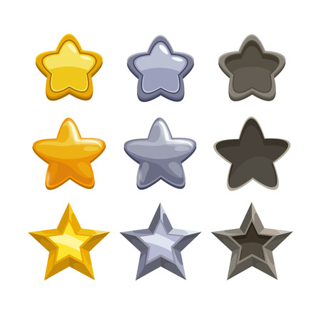 Set of gold, silver and non-active cartoon stars, elements for game. Isolated vector on the white background.
