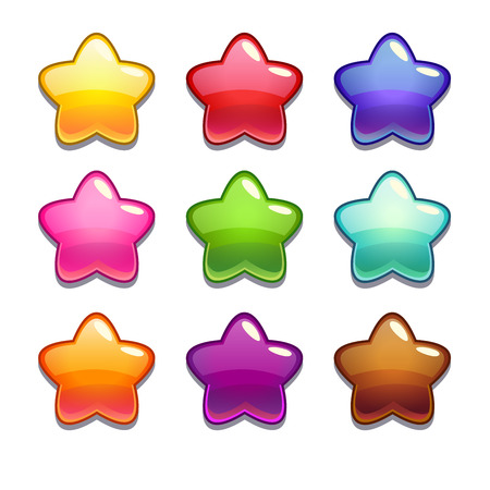 red and blue: Cute cartoon jelly stars in different colors, isolated vector