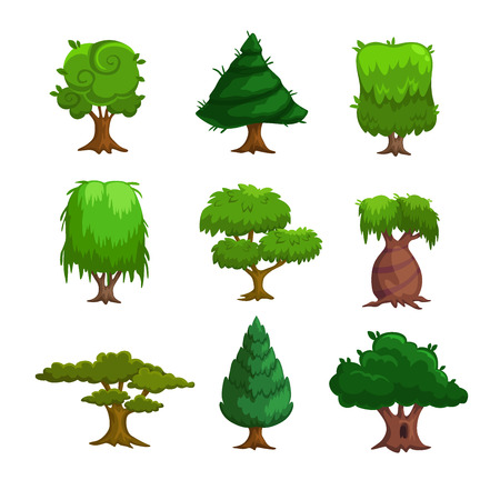 summer cartoon: Cartoon trees, vector set