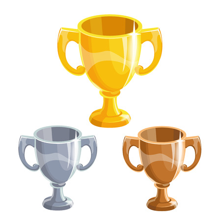 award trophy: Cartoon gold, silver and bronze winner cup, isolated vectors