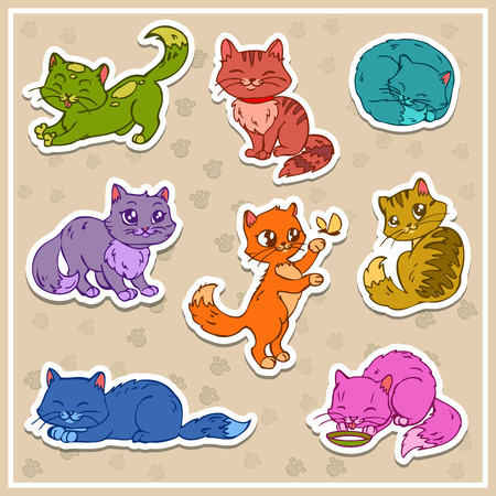 cat eating: Cute cats stickers, vector