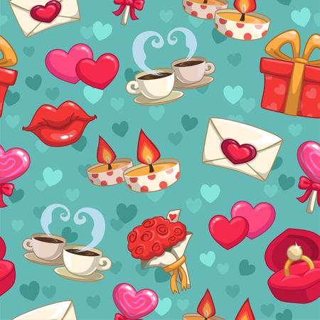 romantic: Romantic seamless pattern, vector