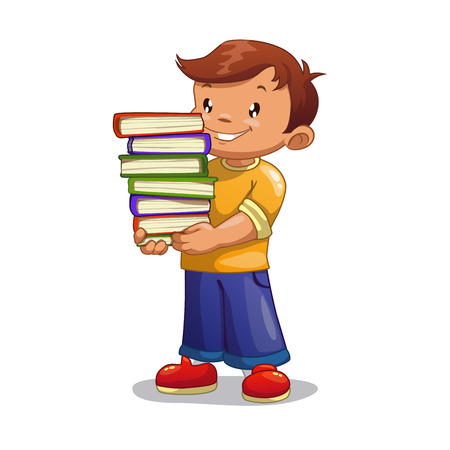 books isolated: Cartoon boy with pile of books, isolated vector illustration