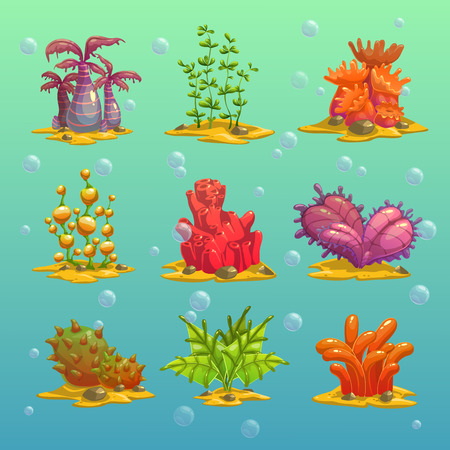 Cartoon algae, isolated underwater elements, vector set 3 Çizim