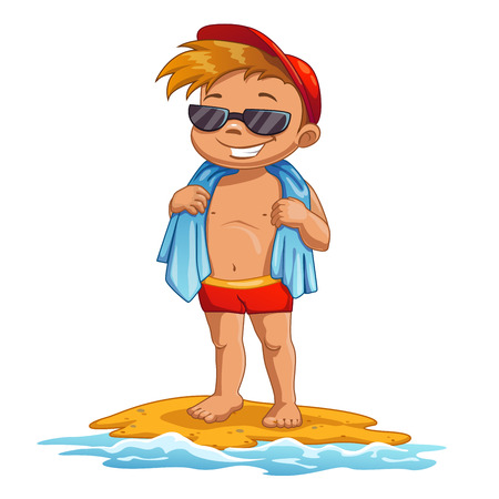 Cute cartoon little boy on the beach, sunbathes in the sun