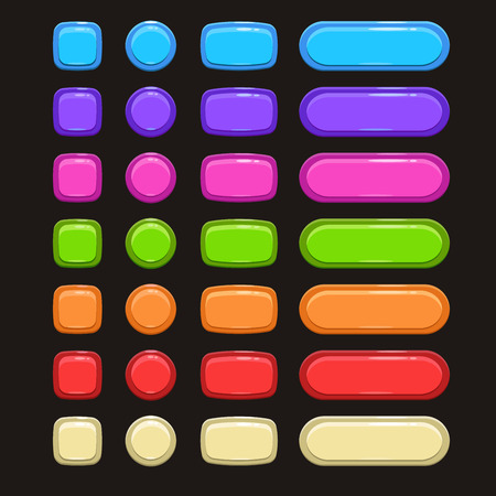 Set of cute bright colorful buttons on the dark background Vettoriali