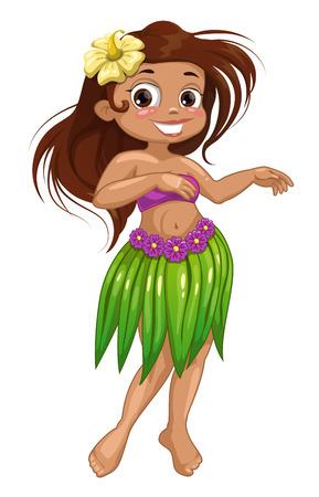 traje: Dança dos desenhos animados bonito menina havaiana. Ilustração isolada do vetor Ilustração